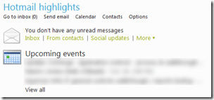 Hotmail highlights - Upcoming Events
