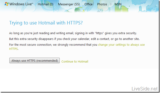 HTTPS on Hotmail