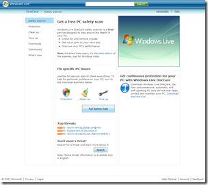 Windows Live OneCare Safety Scanner