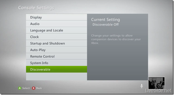 Xbox 360 Discoverable Setting