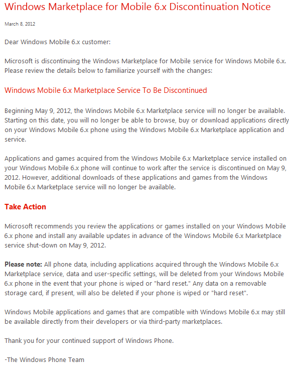 Windows Marketplace for Mobile 6 x discontinuation Notice