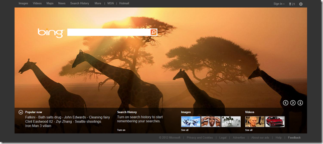 New Bing homepage goes live, now with larger featured photo and tiles
