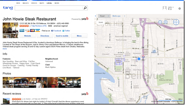 Yelp on Bing