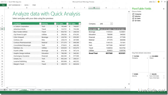 Excel Web App - View Mode - Pivot Table