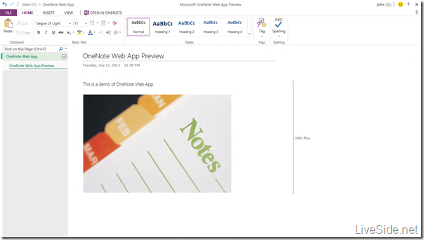 OneNote Web App - Edit Mode - Home