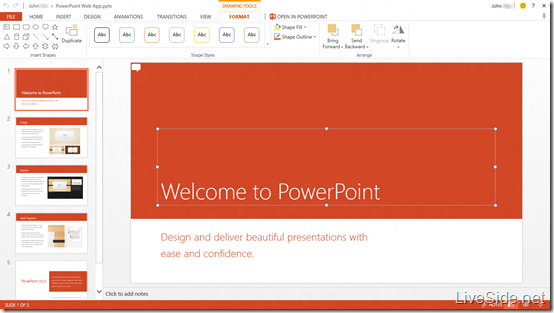 PowerPoint Web App - Edit Mode - Drawing Tools