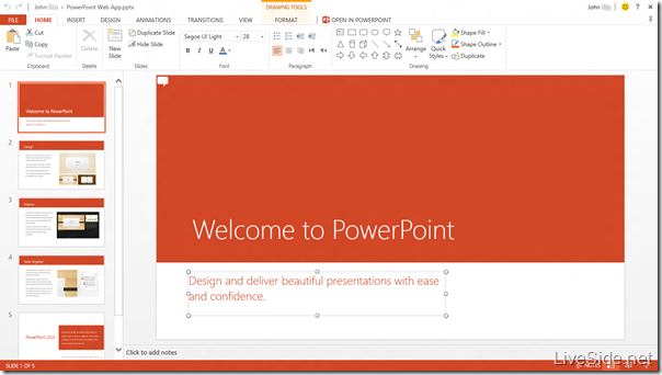 PowerPoint Web App - Edit Mode - Home