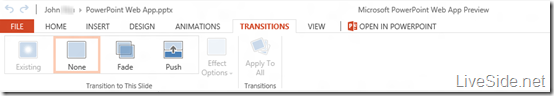 PowerPoint Web App - Edit Mode - Transitions