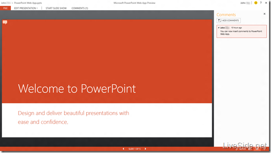 PowerPoint Web App - View Mode with Comments