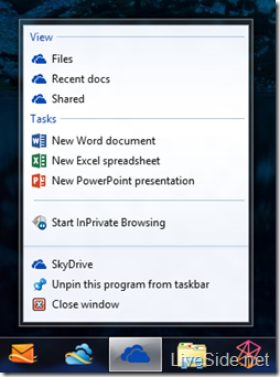 SkyDrive - Pin to Taskbar