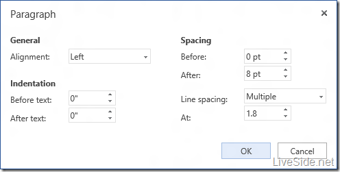 Word Web App - Edit Mode - Paragrah Options
