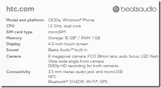 HTC Accord specifications