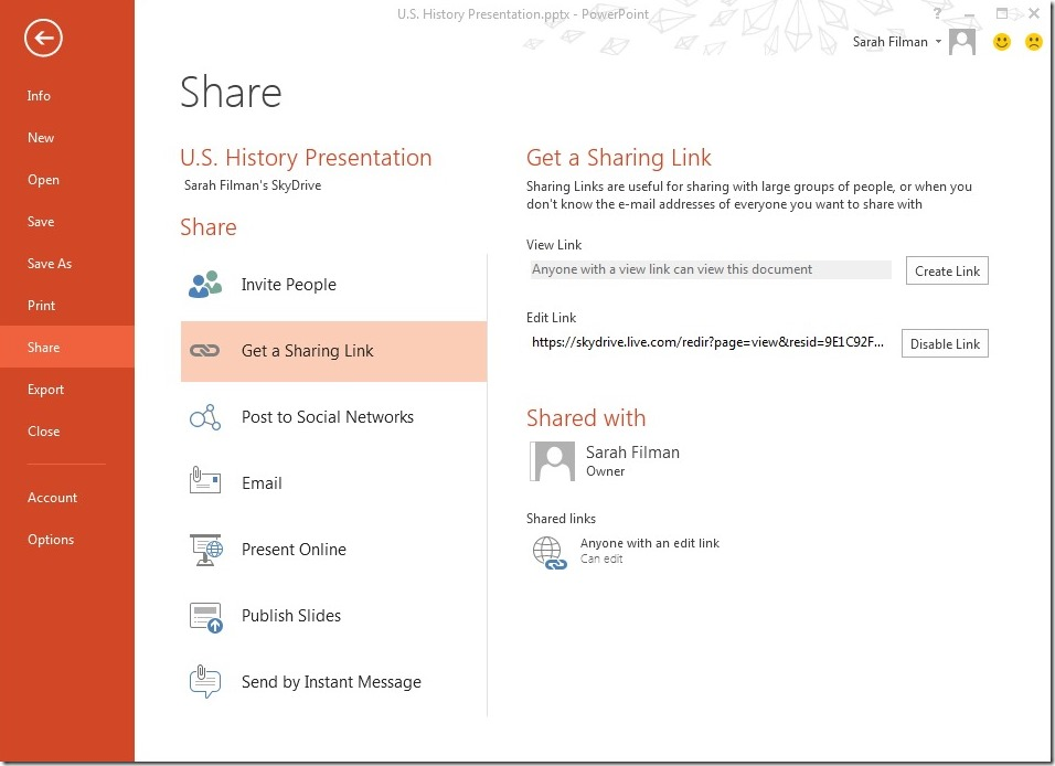 Getting sharing link in SkyDrive