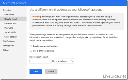 Microsoft account - Update email
