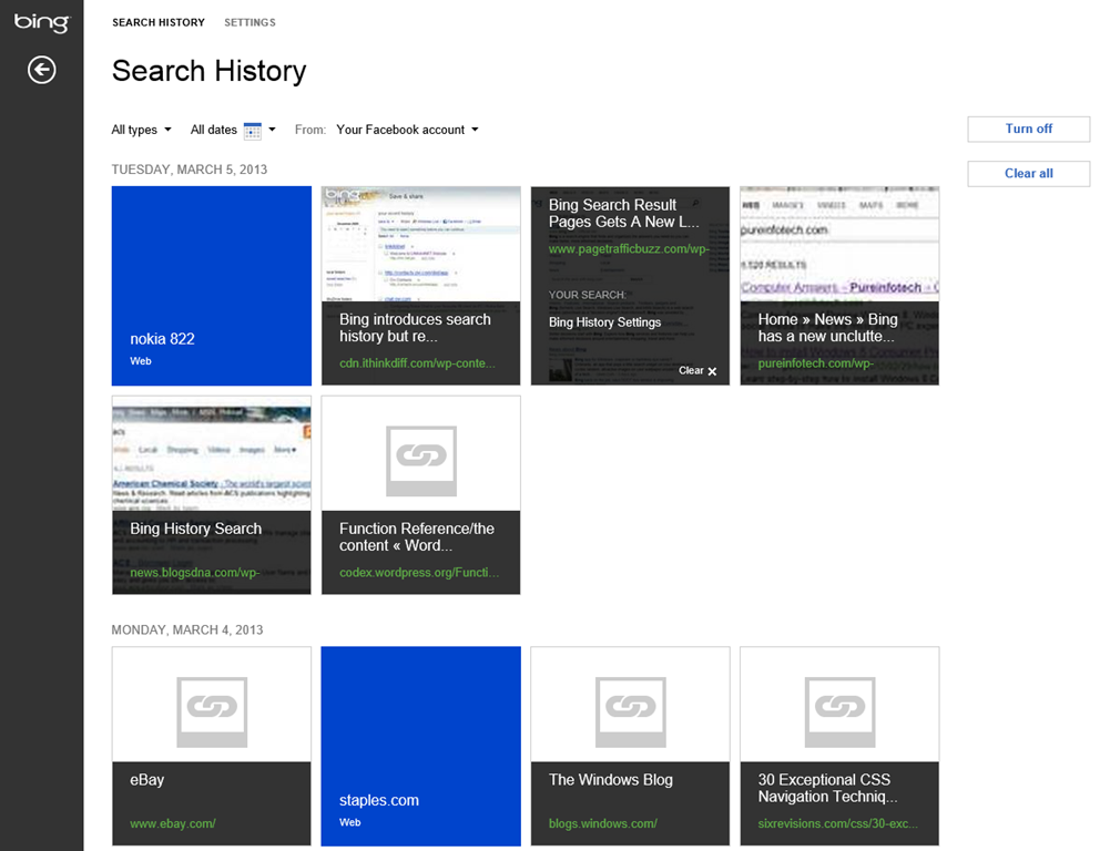 A New History View From Bing