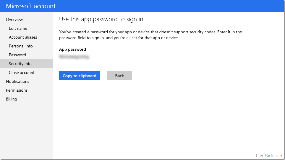 Microsoft account - Two factor authentication app password