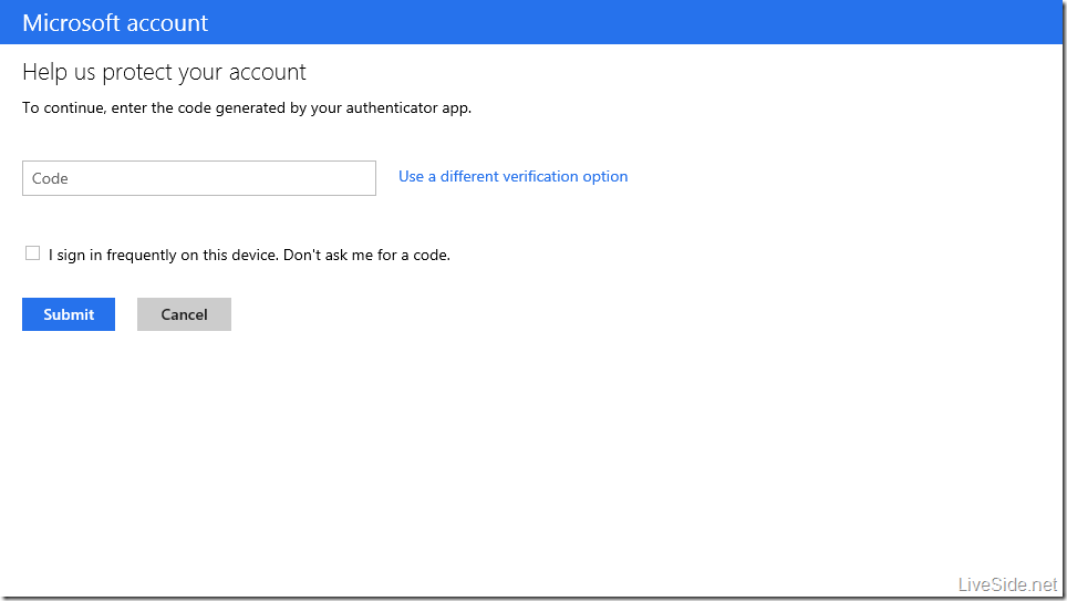 Microsoft account - Two factor authentication login