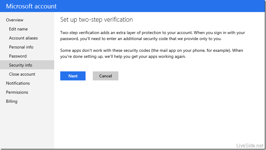 Microsoft account - Two factor authentication