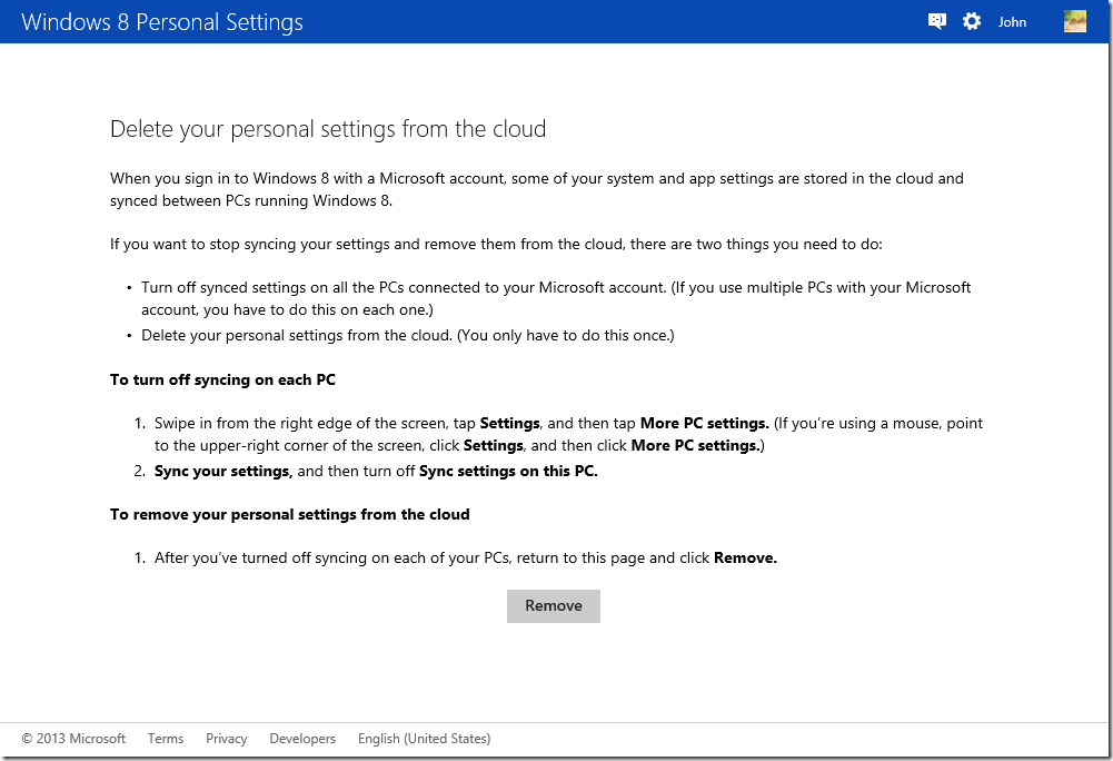 Windows 8 Personal Settings - SkyDrive
