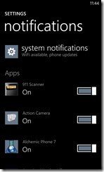 Notifications settings