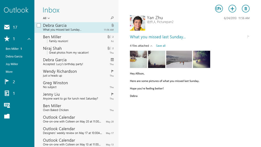 Sneak peek at all new Windows 8 1 Mail, Calendar and People