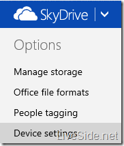 SkyDrive - Backed up device settings