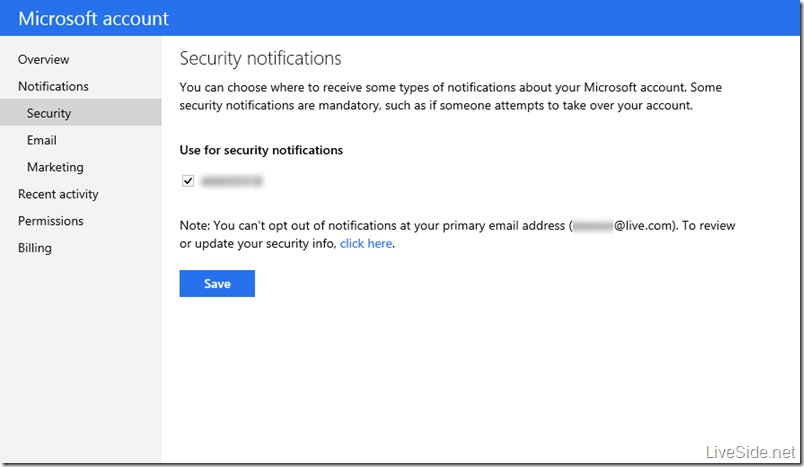 Microsoft account - Security notifications