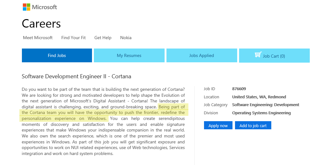 microsoft job posting